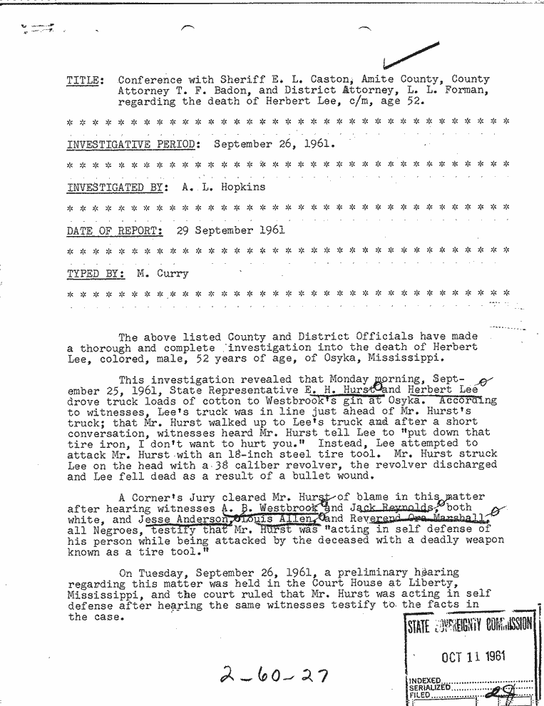 Mississippi Sovereignty Commission report on the murder of Herbert Lee, September 29, 1961, Sovereignty Commission Online, MDAH