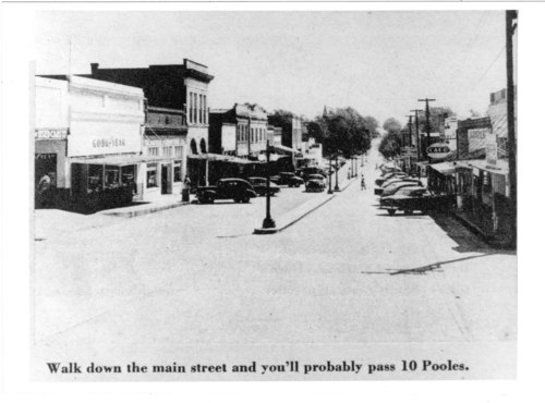 """Walk down the main street and you'll probably pass 10 Pooles,"" Gloster, Miss. Collection. Call Number: PI/1982.0159 Number 5 (MDAH)"