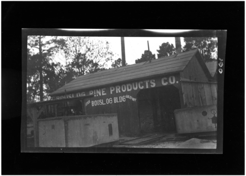 "Turpentine industry, ""Bouslog Pine Products Co., Bouslog Bldg., Gulfport Office."" Call Number: PI/1995.0001, No. 61 (MDAH Collection)"